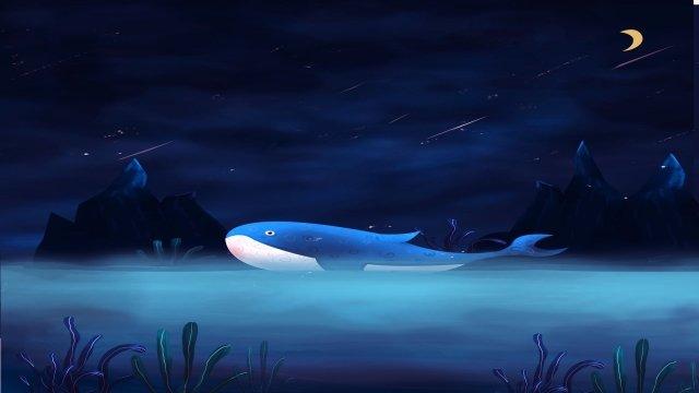 whale sea mountain seaweed, Star, Sky, Moon illustration image