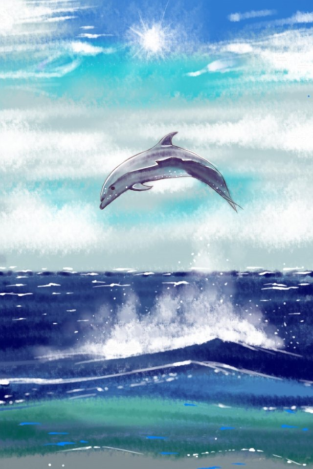 whale sea ocean beautiful, Healing, Blue Tone, Sky illustration image