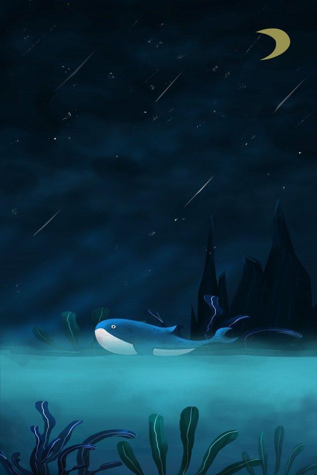 クジラ海海藻山 イラスト素材