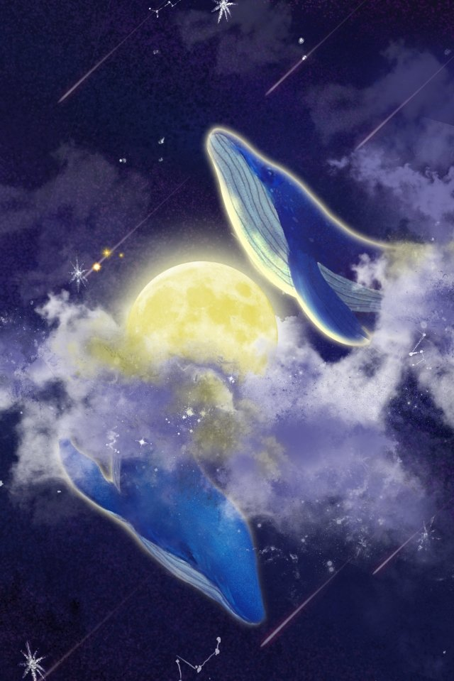 whale starry sky background moon, Meteor, Star, Romantic illustration image
