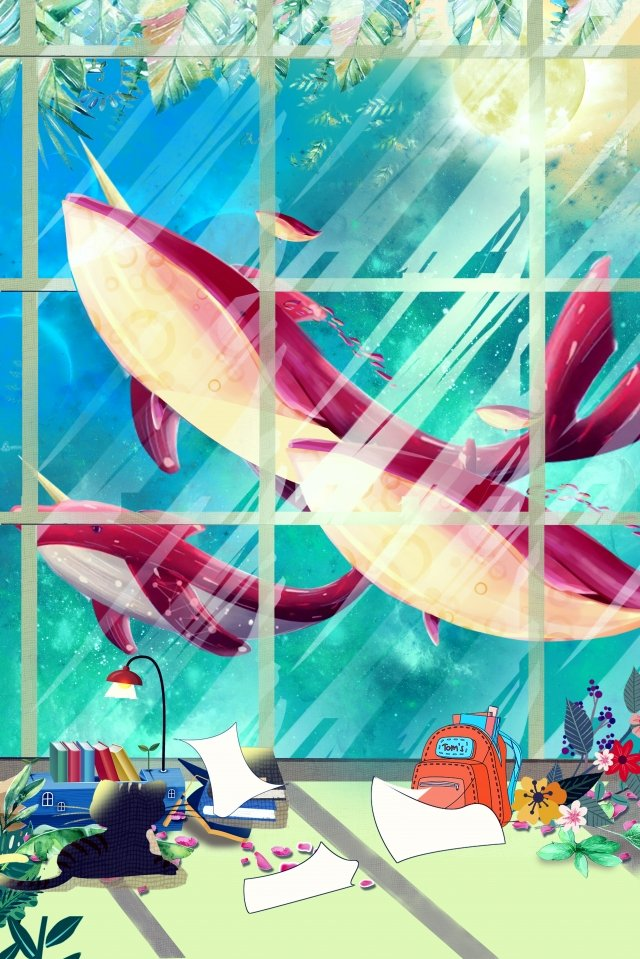 whale window tree pencil, Book, Paper, Hand Painted illustration image