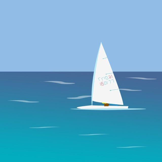 white clouds sea sailboat landscape, Ocean, Summer Landscape Material, Summer illustration image