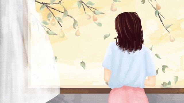 白い露秋女の子の風景 イラストレーション画像