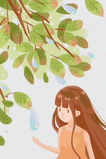 白い露葉緑の女の子 イラスト素材 イラスト画像