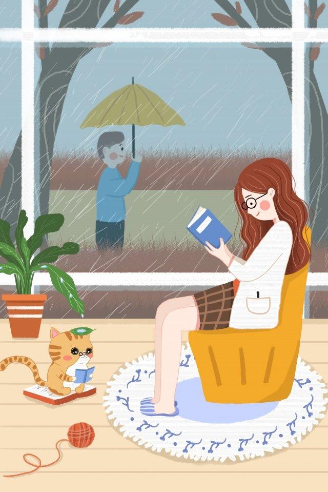 本を読んで白い露文学女性青年少女女の子 イラストレーション画像 イラスト画像