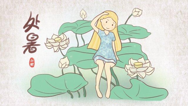 white lotus little girl sitting lotus leaf summer, 24 Solar Terms, Chinese Style, White Lotus illustration image