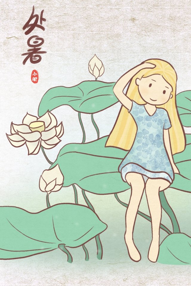 white lotus little girl sitting lotus leaf summer llustration image