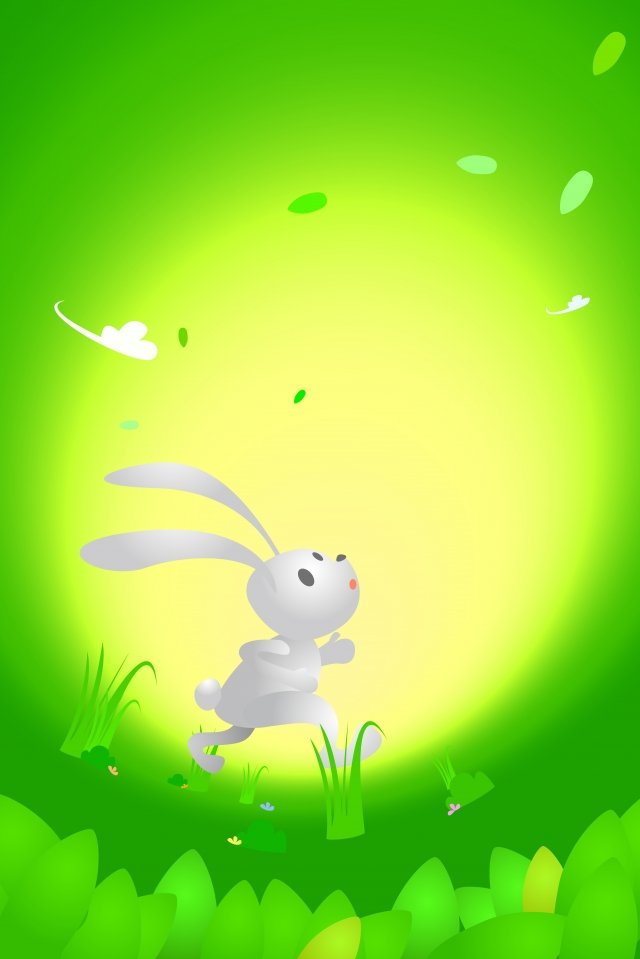 white rabbit green grass forest, Green Leaf, White Clouds, Grove illustration image