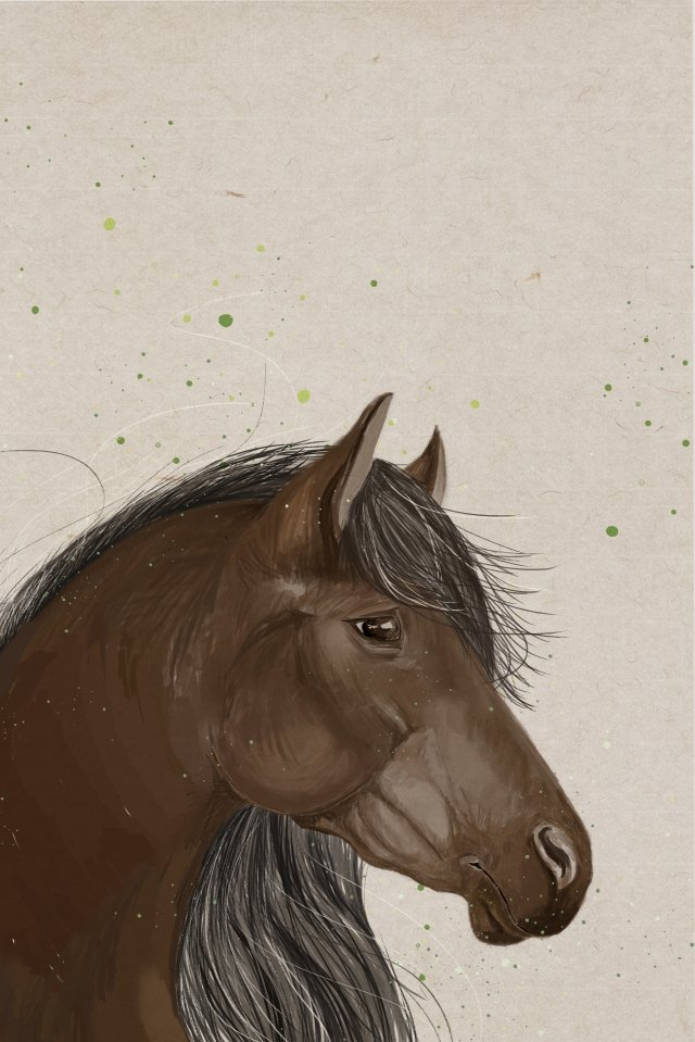 wild horse avatar elegant health, Powerful, Brown Horse, Green illustration image