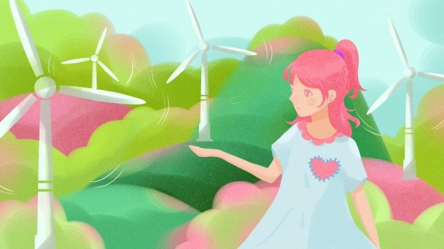 wind power power generation surroundings protection, Green, Girl, Illustration illustration image