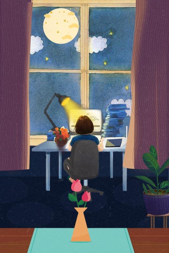 ウィンドウテーブル花瓶ムーンカーテン、祭り、手描き、学ぶ、本、花、ウィンドウ、テーブル、花瓶、ムーン PNGおよびPSD illustration image