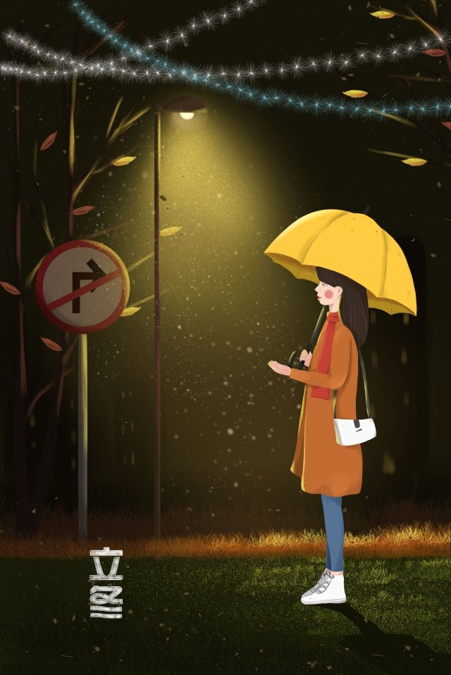 winter beginning of winter girls under the lights umbrella illustration image