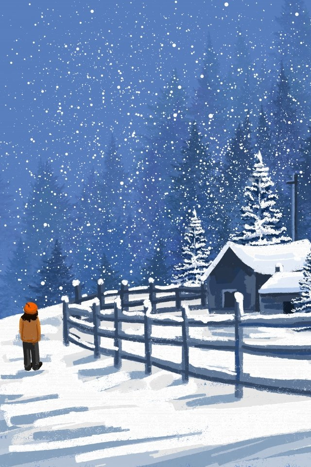 winter first snow snow scene landscape, Winter Landscape, Hand Painted, Snow Landscape illustration image