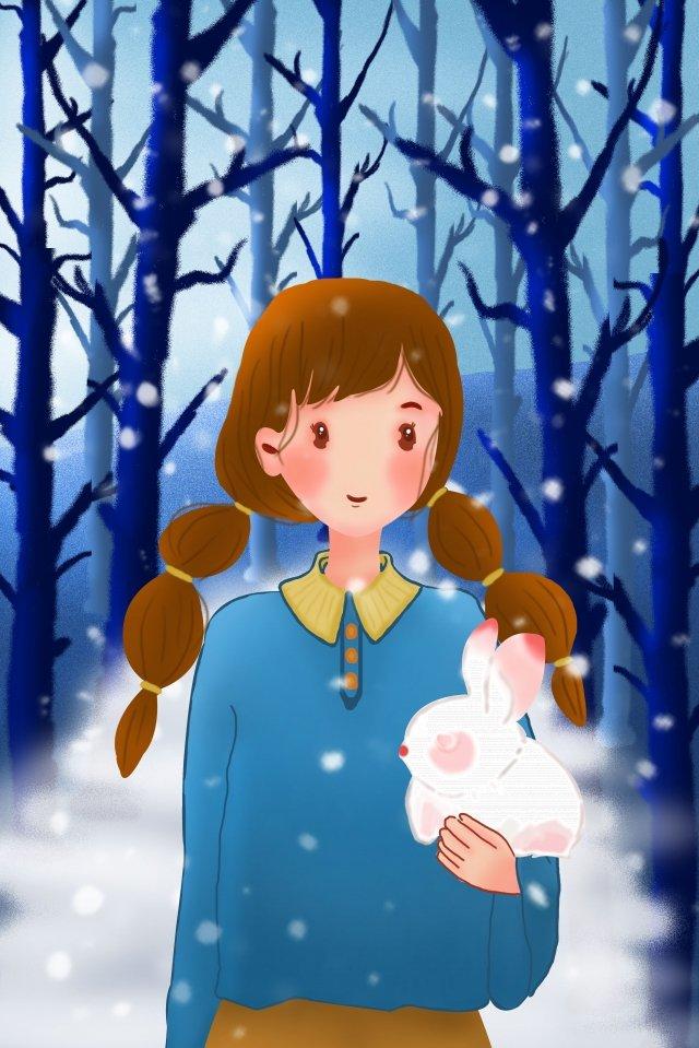 inverno menina animal humano e natureza Material de ilustração