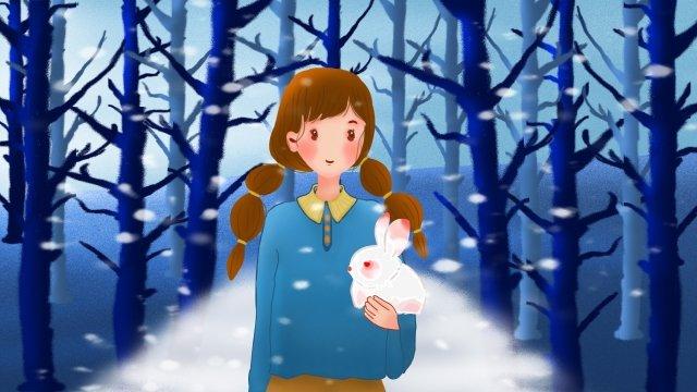 겨울 여자 동물 인간과 자연 삽화 소재 삽화 이미지