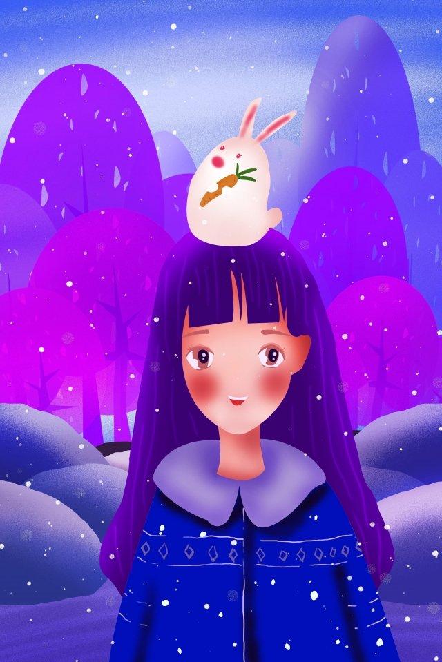 cô gái mùa đông động vật và con người Hình minh họa