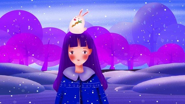겨울 여자 동물 인간과 자연 삽화 소재