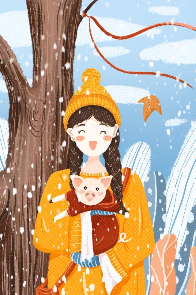 겨울 대단히 차가운 치료 어린 소녀 삽화 소재