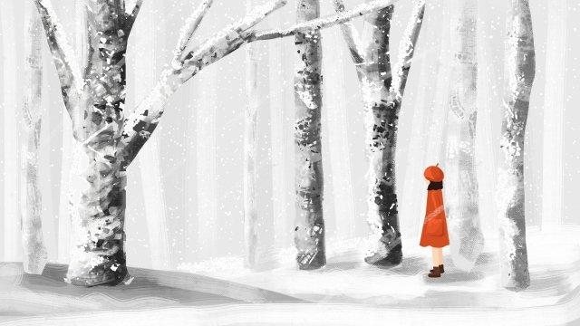 겨울 손으로 그린 그림 겨울 삽화 소재 삽화 이미지