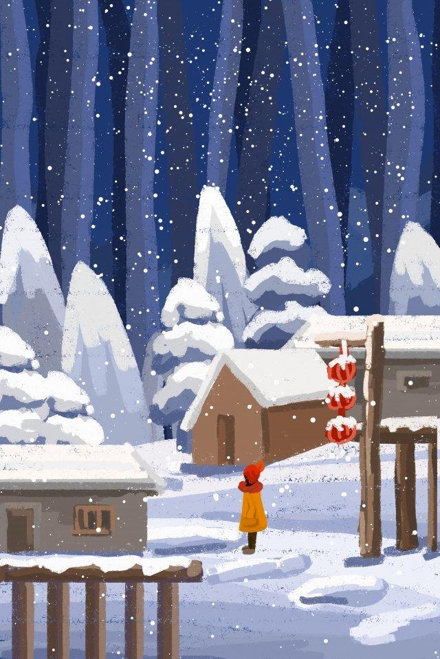 겨울 폭설 눈 장면 소녀 삽화 이미지