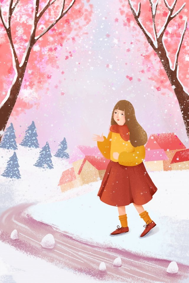 겨울 그림 아름 다운 소녀 삽화 소재