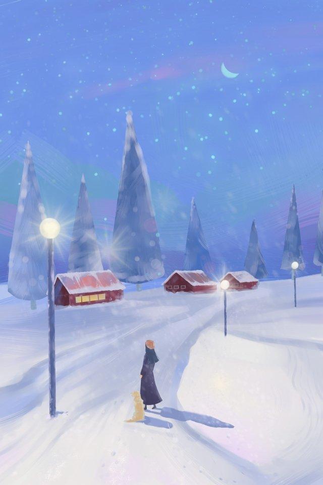 winter landscape home heavy snow snow scene, Hand, Drawn, Illustration illustration image