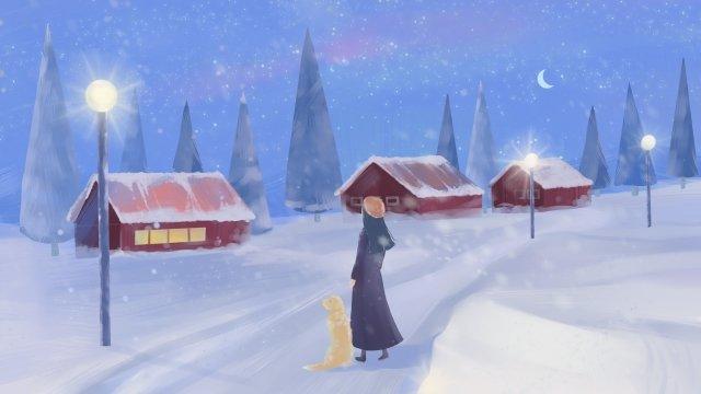 겨울 풍경 집 무거운 눈 동지 삽화 소재 삽화 이미지
