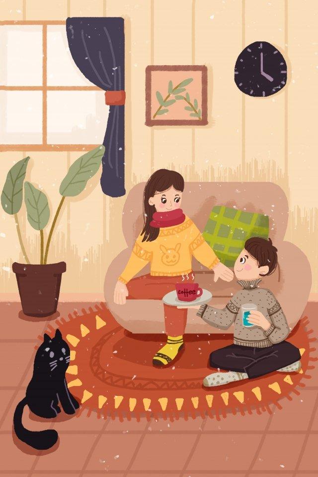 winter lovely male female, Couple, Sofa, Cat illustration image