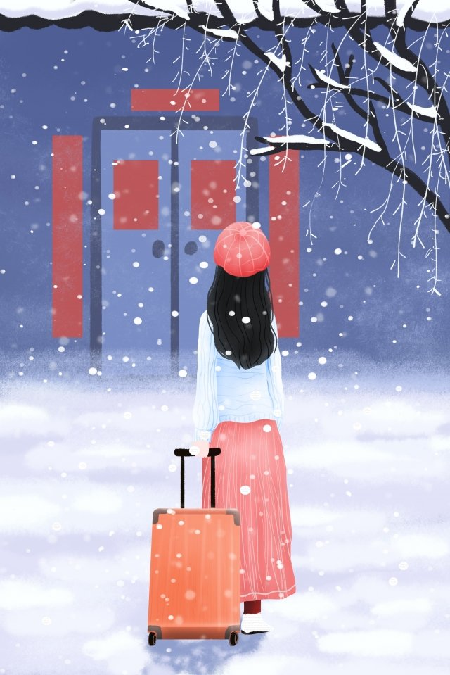 winter new year festival come back home new year llustration image illustration image