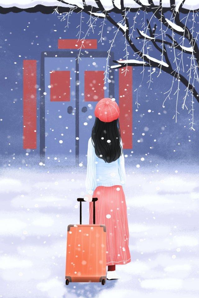 겨울 새해 축제 집으로 돌아와 새해 그림 이미지