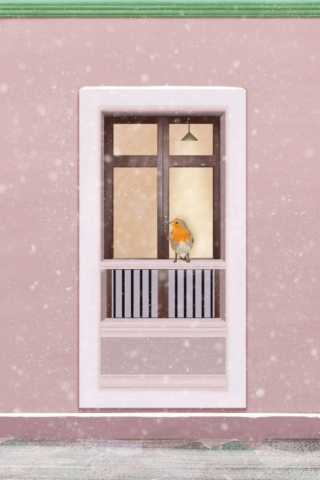 winter pink window snow scene llustration image