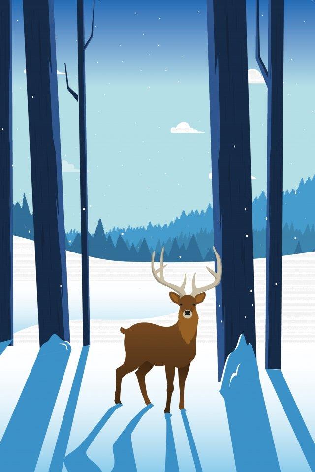 눈 덮인 겨울 시즌 풍경 삽화 소재