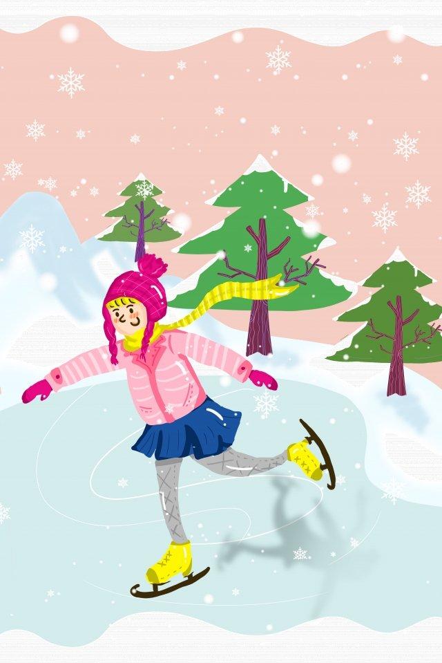 winter skate watercolor wind motion, Teenage Girl, Lovely, Pink illustration image