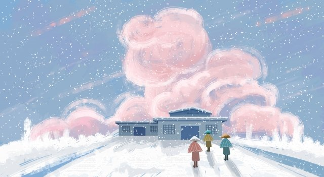 winter snow house character, Cloud, Hand Painted, Cartoon illustration image