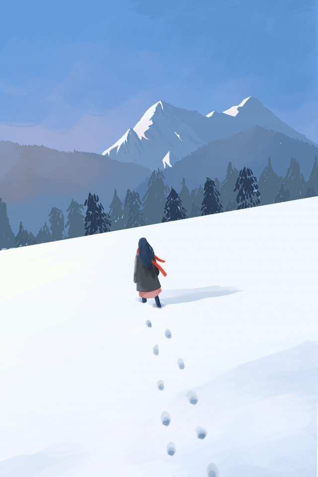 winter snow mountain great cold osamu illustration image