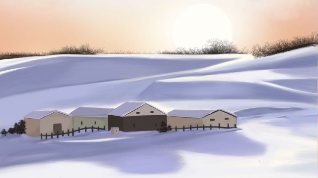 winter snow scene beautiful scenery white, House, Gradient, Winter illustration image