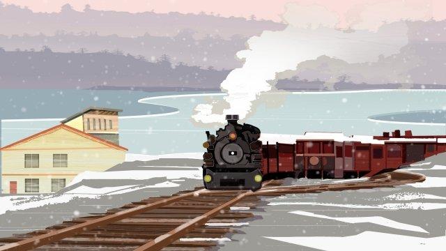 winter snow scene illustration snowing in winter train glacier snowing outdoor llustration image illustration image