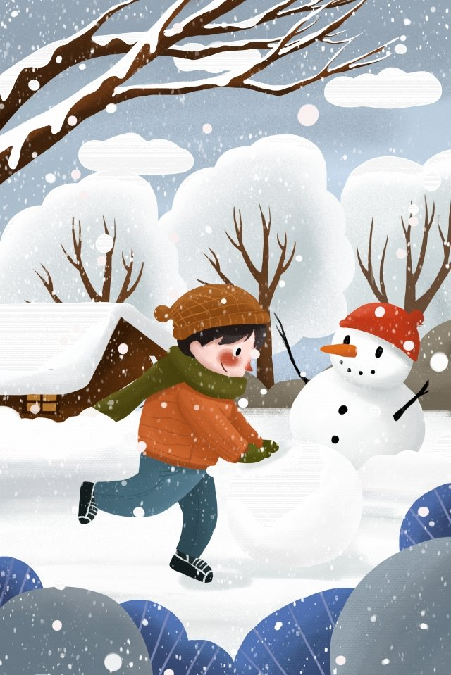 winter snow snowball make a snowman llustration image