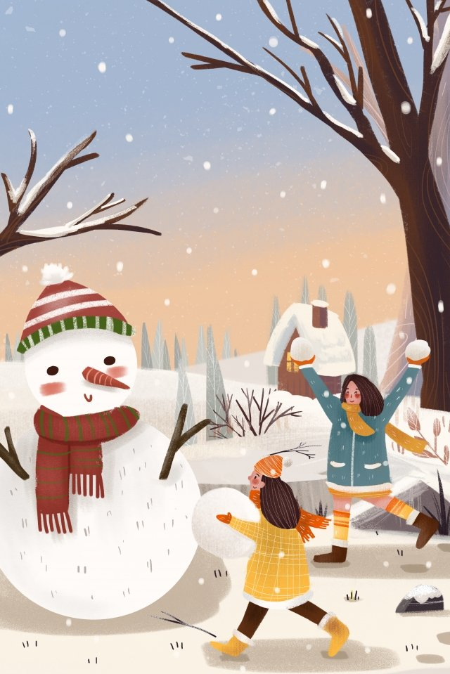 winter snow snowing character, Snow Scene, Hand Painted, Snowman illustration image