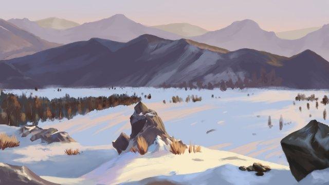 겨울 눈 태양 용어 눈 풍경 삽화 소재
