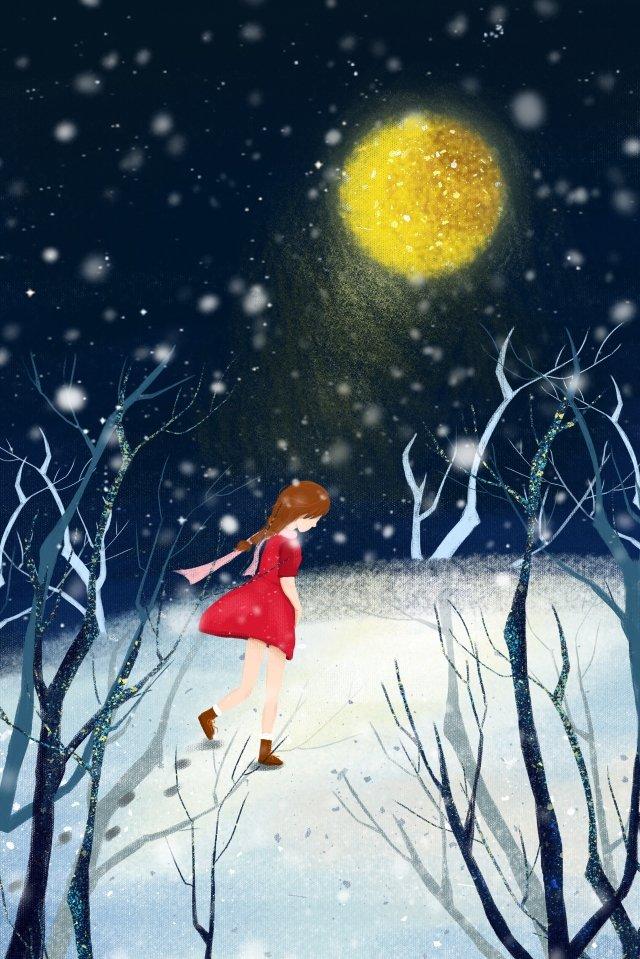 겨울 달빛 소녀 삽화 소재 삽화 이미지