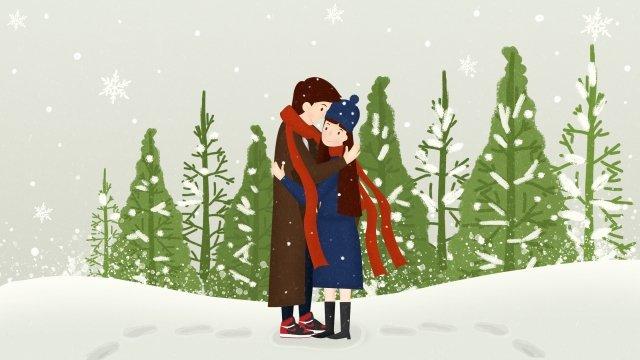 冬天下雪大雪小雪 插畫素材