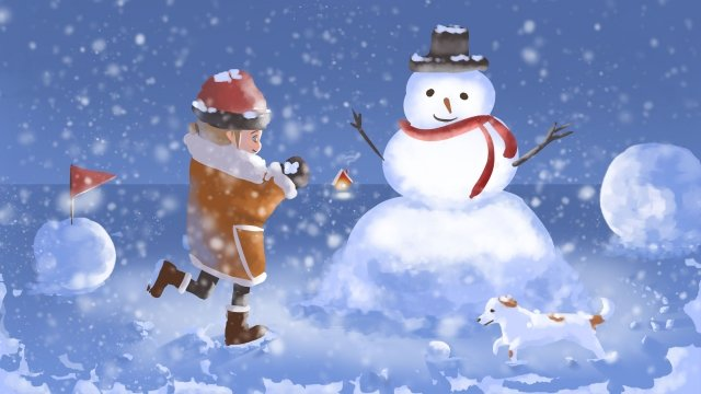 winter solar terms 24 solar terms play, Lovely, Snow, Make A Snowman illustration image