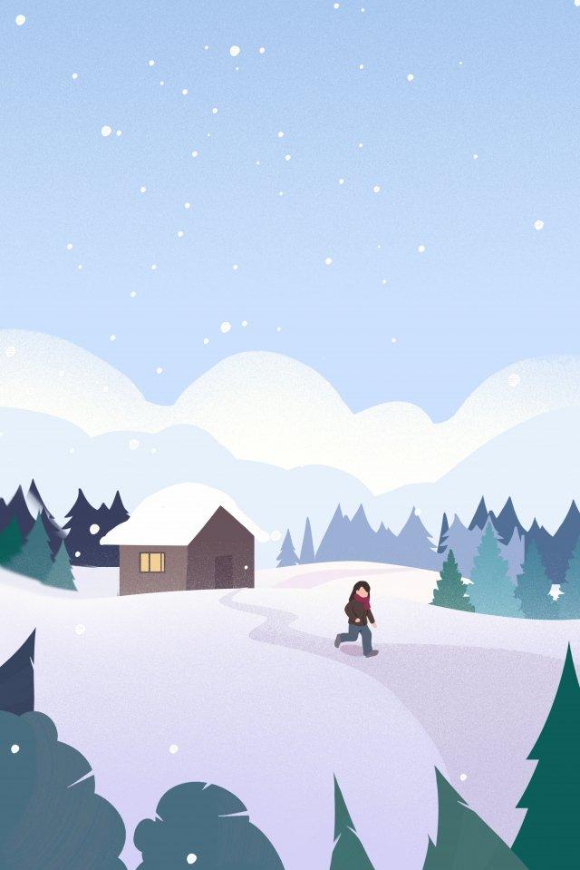 겨울 눈보라 삽화 이미지