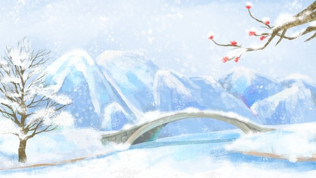 winter solstice snow scene bridge landscape llustration image