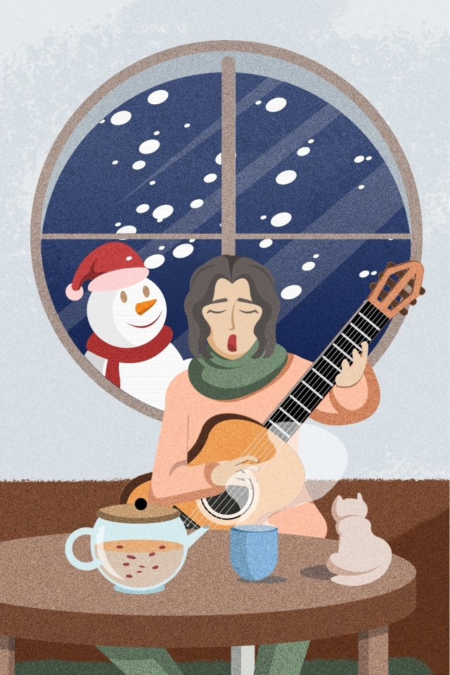 겨울 기타 눈이 내리는 눈 연주 기타 삽화 소재