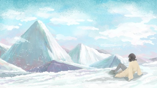 winter teenage girl snow mountain natural llustration image