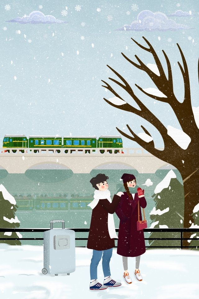 winter train couple trunk, Snow, Outside The Station, Waiting illustration image