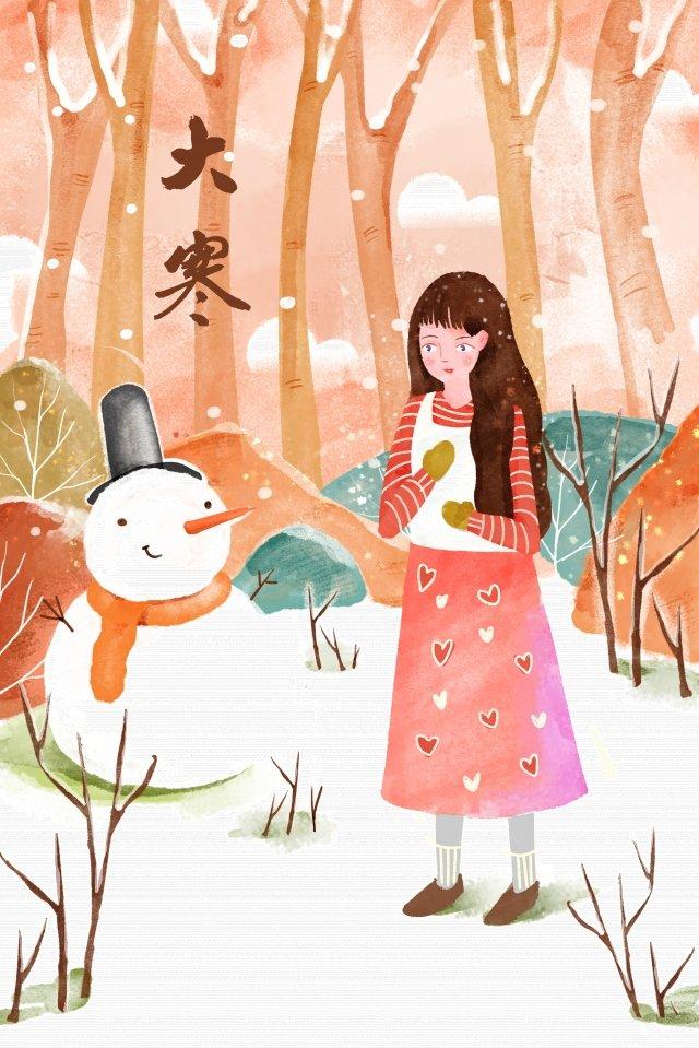winter winter illustration watercolor, Snowman, Great Cold, Winter illustration image