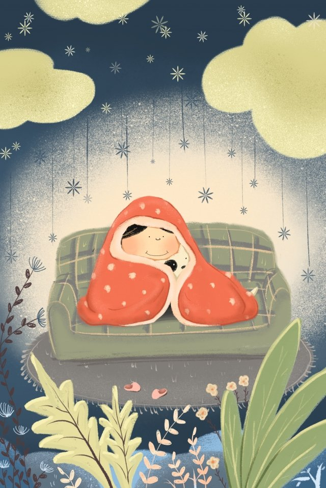 winter winter indoor warm, Snowflake, Quilt, Child And Dog illustration image